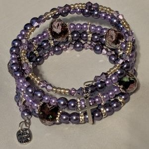 Jewelry - Handmade Purple Memory Wire 5 loop Bracelet